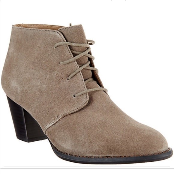 Vionic Suede Lace Up Ankle Boots Womens